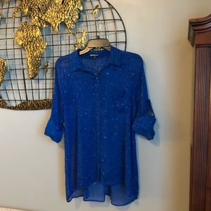 Sheer cobalt Express button down